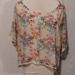 Mudd floral sheer loose fit button up blouse xl